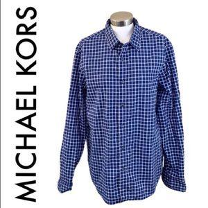 MICHAEL KORS BLUE WHITE MEN'S BUTTON DOWN SHIRT XL